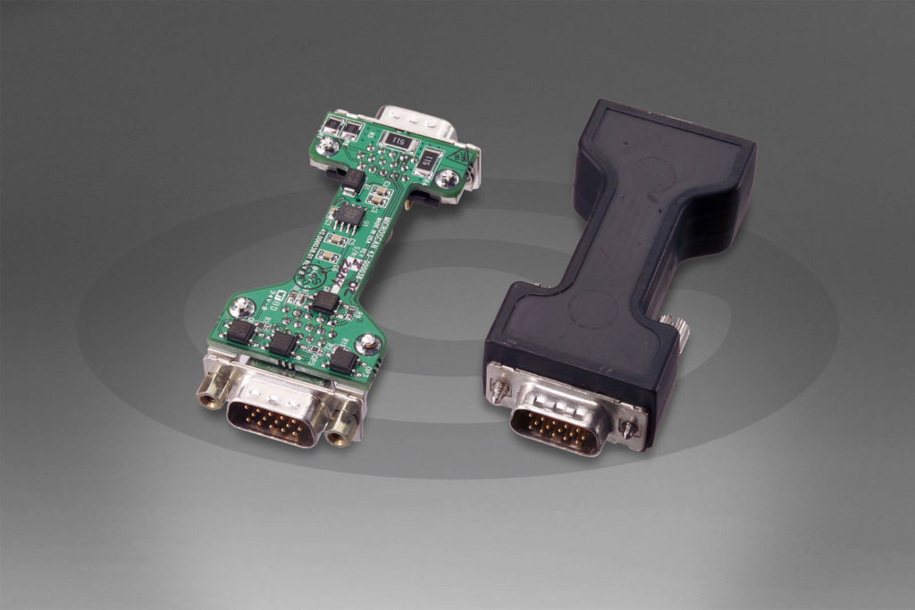 Cavist Overmolded PCBA with two sealed DB Connectors. Low pressure molding process safely encapsulates a fully populated circuit board with damaging SMT components or reflowing any solder. The result is ruggedized and capable of withstanding shock, vibration, and more.